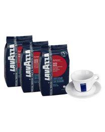 Cafe en grains Lavazza Super Gusto UTZ (3x1kg) + Tasse Cappuccino Gratuit