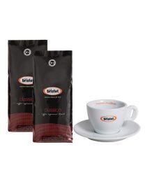 Café en grains Bristot classico (2x1kg) + Tasse