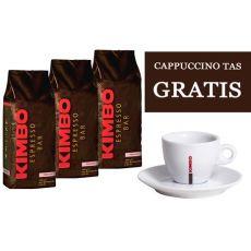 Café en grains Kimbo Prestige  (3x1kg) + gratuit tasse