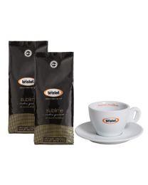 Café en grains Bristot sublime (2x1kg) + Tasse