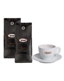 Café en grains Bristot Tiziano (2x1kg) + Tasse