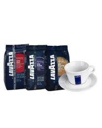 Café en grains Lavazza (3x1kg) + tasse cappuccino gratuit